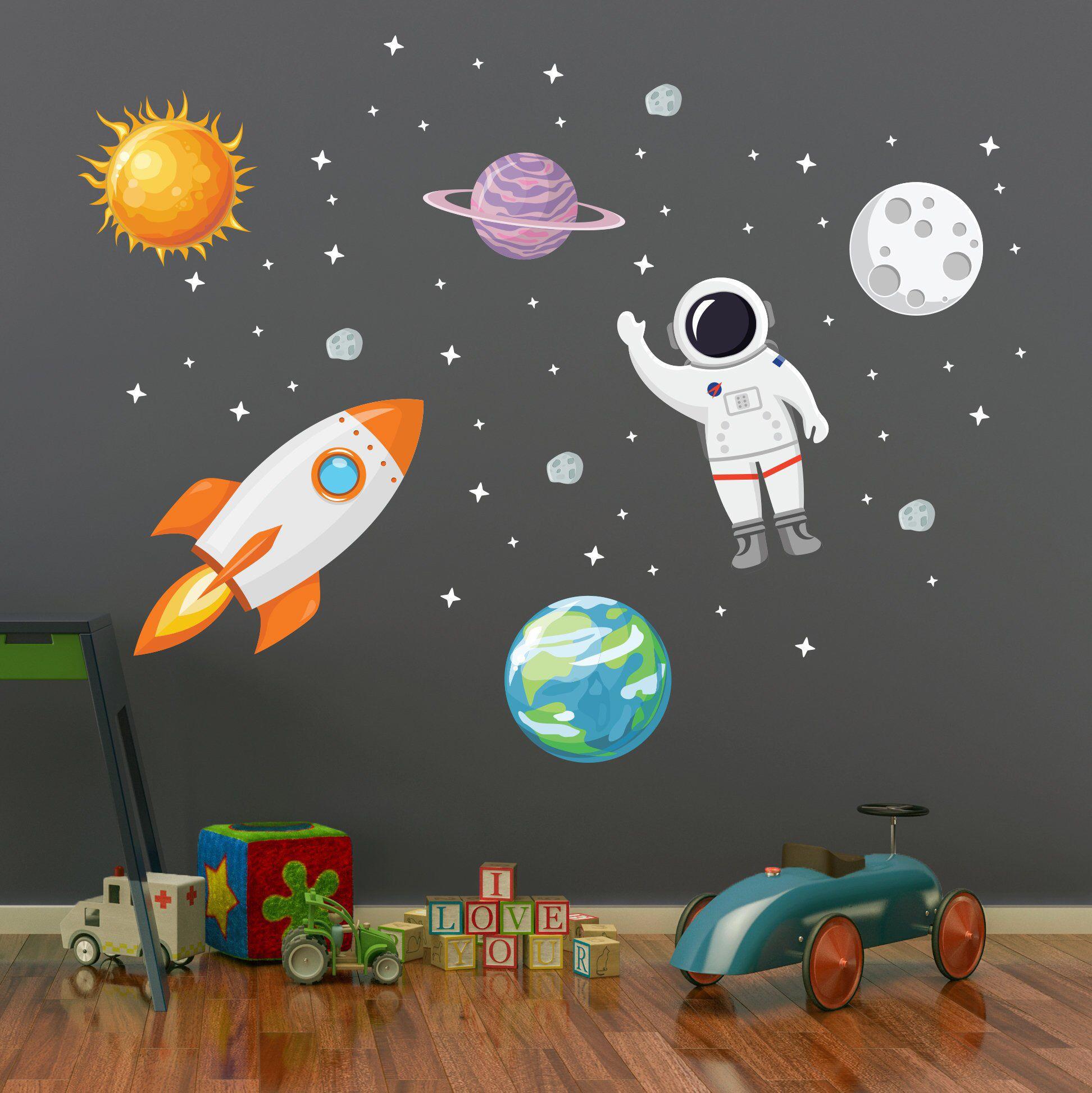 weltraum wand aufkleber  sterne planeten astronaut rakete