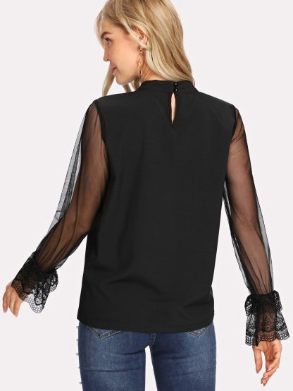 Mock Neck Mesh Sleeve Gathered Neck Top