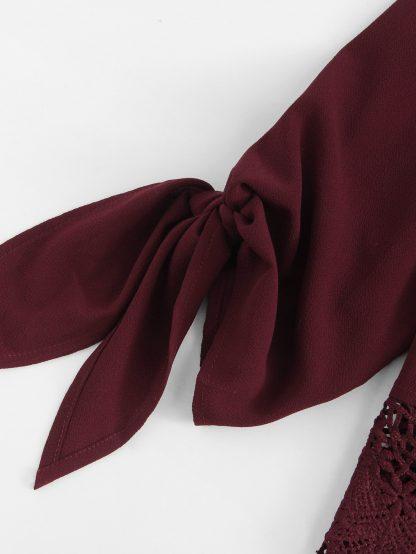 Guipure Lace Hem Knot Cuff Off Shoulder Top