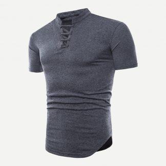 Men Lace Up Solid T-shirt