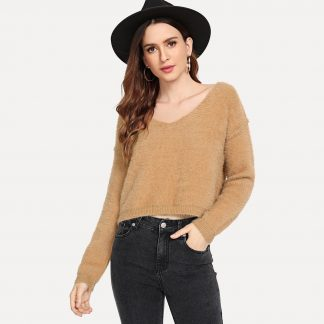Drop Shoulder Crop Fuzzy Jumper