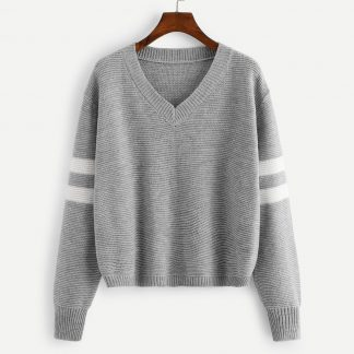 V Neck Striped Sleeve Sweater