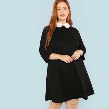 Plus Contrast Collar Pearl Embellished Dress