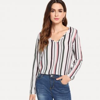 V Neck Striped Print Top