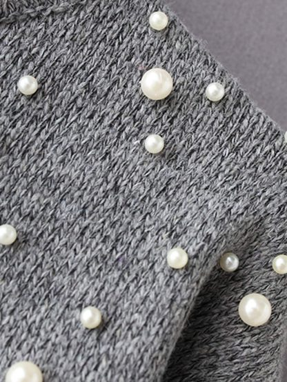 Faux Pearl Drop Shoulder Sweater