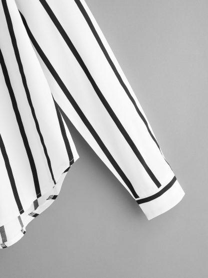 Plus Striped V-Neck Blouse