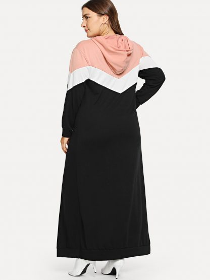 Plus Color-block Hooded Dress