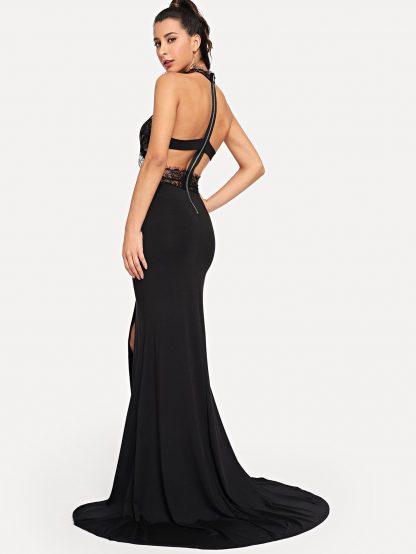 Caged Back Lace Bodice Split Prom Dress