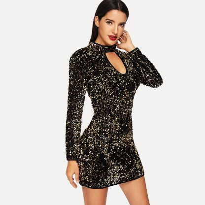 Keyhole Sequin Bodycon Dress