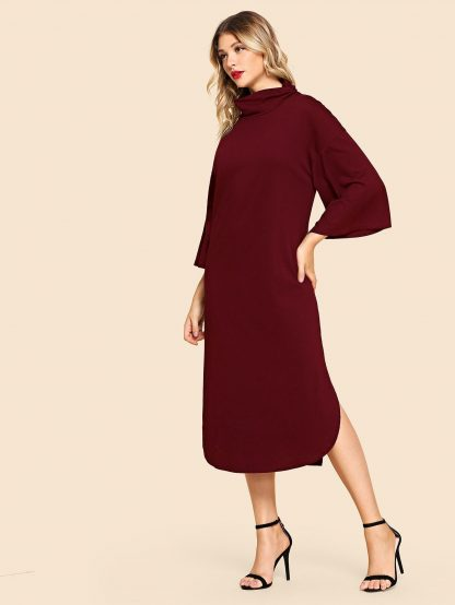 High Neck Solid Tunic Dress