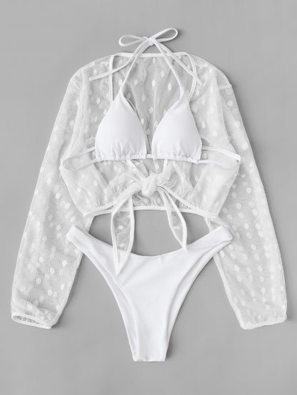 High Cut Bikini With Polka Dot Cover Up 3pack
