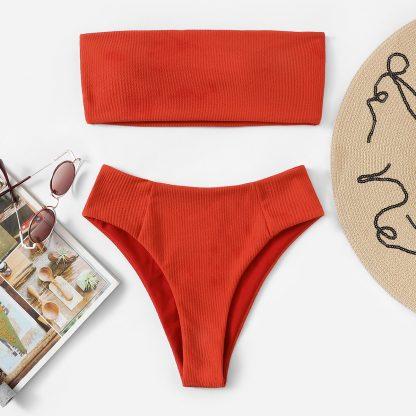 Ribbed Bandeau With High Cut Bikini Set