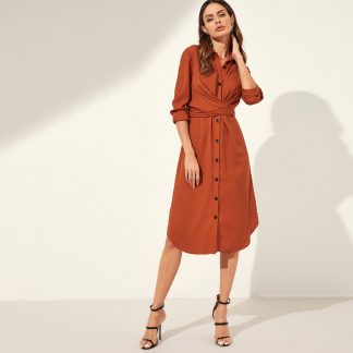 Button Through Self Tie Shirt Dress