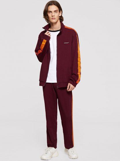 Men Contrast Tape Letter Sweatshirt and Sweatpants Set
