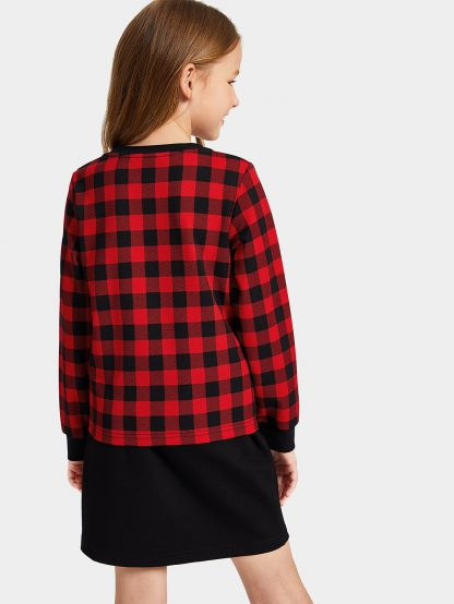 Girls Grid Pullover & Double Button Skirt Set