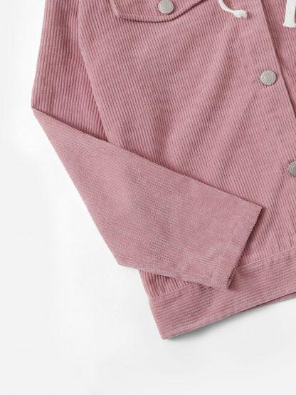 Embroidered Corduroy Jacket With Jersey Hood