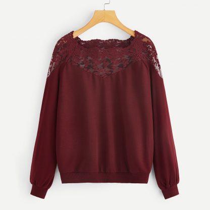 Embroidered Mesh Yoke Raglan Sleeve Sweatshirt