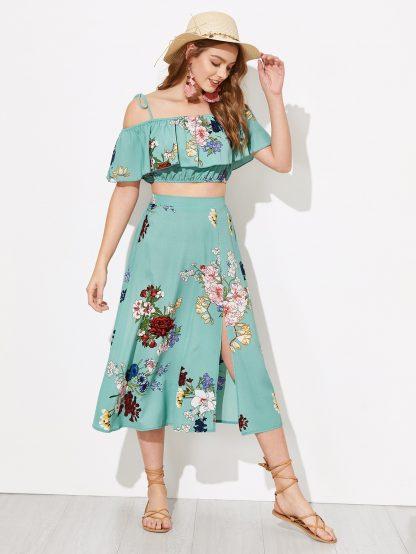 Flounce Foldover Top and Split Skirt Set