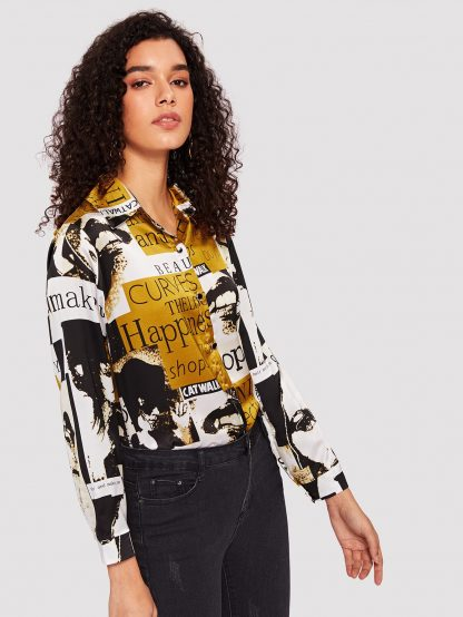 Figure And Letter Print Blouse