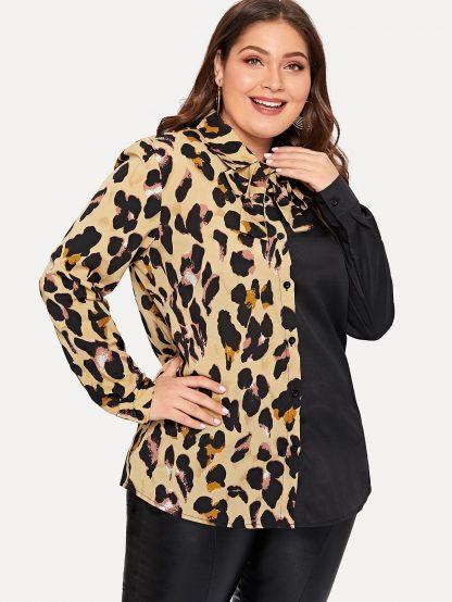 Plus Contrast Leopard Tie Neck Blouse