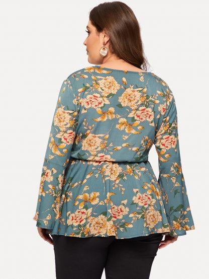 Plus Floral Print Knot Flounce Sleeve Blouse