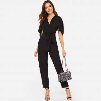 Flounce Trim Open Shoulder Self Tie Jumpsuit