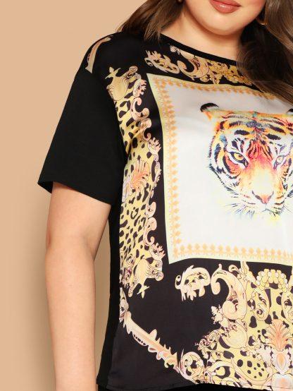 Plus Tiger Scarf Print Top