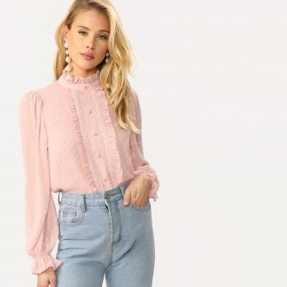 Frilled Trim Buttoned Dot Jacquard Blouse