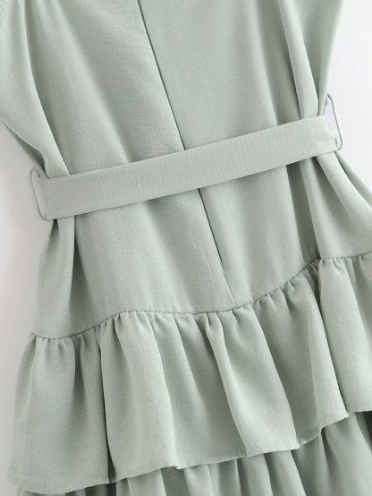 Self Tie Layered Ruffle Hem Cami Dress