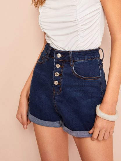 Rolled Up Hem Buttoned Up Denim Shorts
