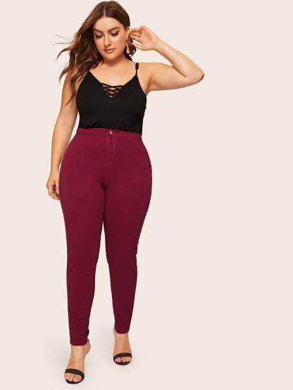 Plus Solid High Waist Jeans