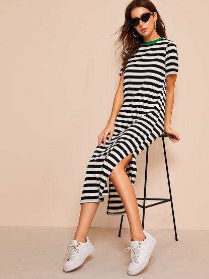 Split Side Striped Ringer Tunic Dress