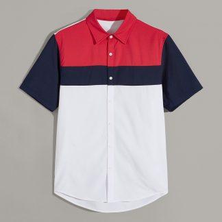 Men Colorblock Curved Hem Shirt