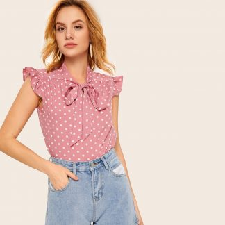 Tie Neck Polka Dot Blouse