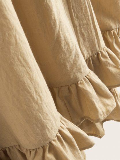 Drawstring Maxi Ruffle Hem Skirt