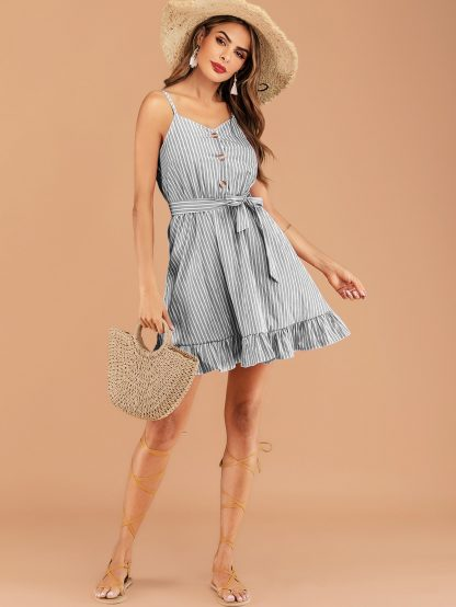 Striped Button Front Ruffle Hem Belted Cami Dress