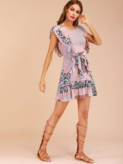 Tribal Ruffle Trim Belted Dress