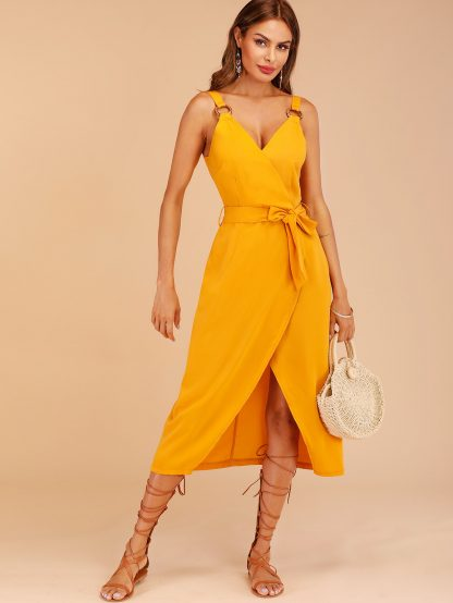 Tulip Hem Belted Cami Dress