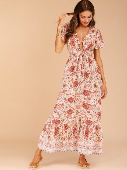 Ditsy Floral Ruffle Trim Tie Front Dress