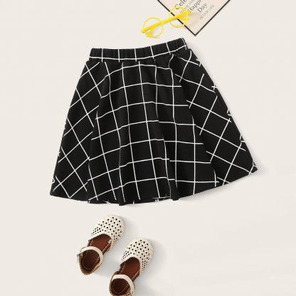 Girls Grid Print Skater Skirt