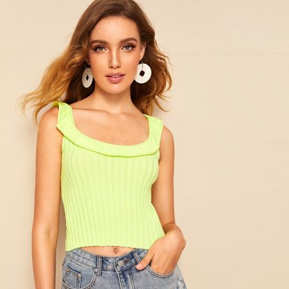 Neon Lime Foldover Front Rib-knit Top