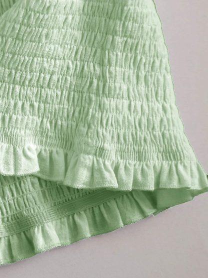 Off Shoulder Frill Trim Shirred Crop Top