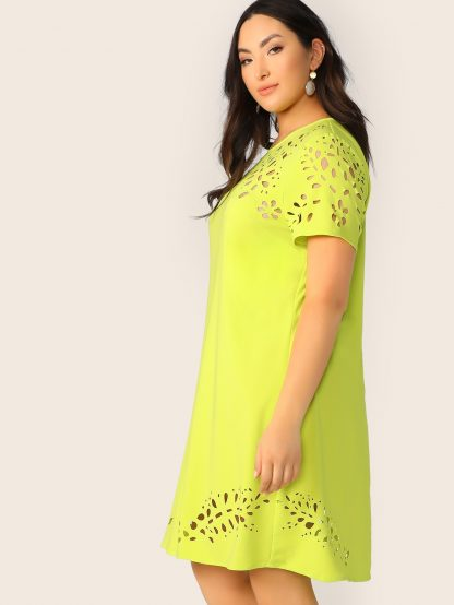 Plus Neon Yellow Keyhole Back Laser Cut Dress