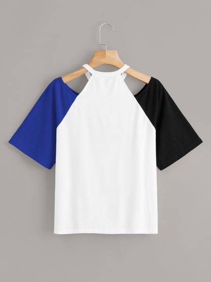 Cut Out Shoulder Raglan Sleeve Colorblock Tee