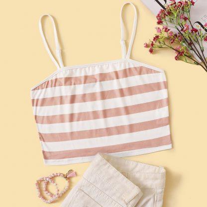 Color-block Striped Crop Cami Top