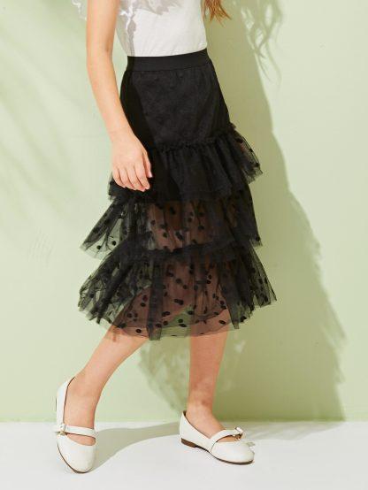 Girls Wide Waistband Layered Dobby Mesh Skirt
