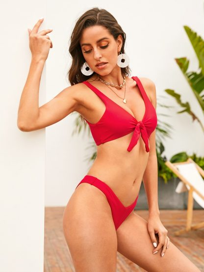 Tie Front Top With High Leg Bikini Set