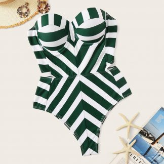 Removable Strap Chevron Bustier Monokini