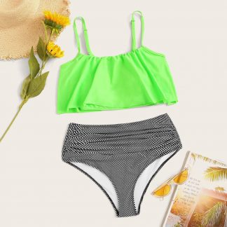 Neon Green Flounce Top With Striped Ruched Bikini