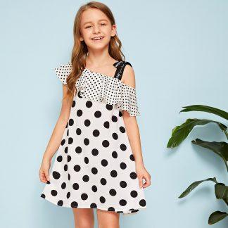 Girls Letter Tape Asymmetrical Neck Flounce Trim Polka Dot Dress